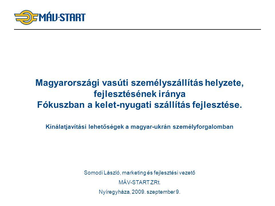 Magyarországi vasúti személyszállítás helyzete, fejlesztésének iránya Fókuszban a kelet-nyugati szállítás fejlesztése. Kínálatjavítási lehetőségek a magyar-ukrán személyforgalomban