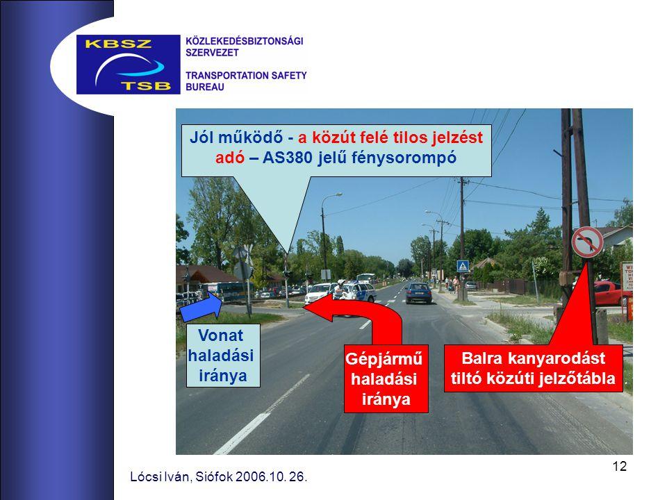 Jól működő - a közút felé tilos jelzést adó – AS380 jelű fénysorompó