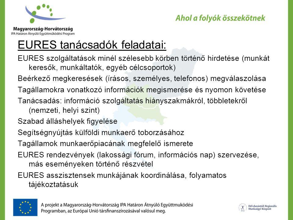 EURES tanácsadók feladatai:
