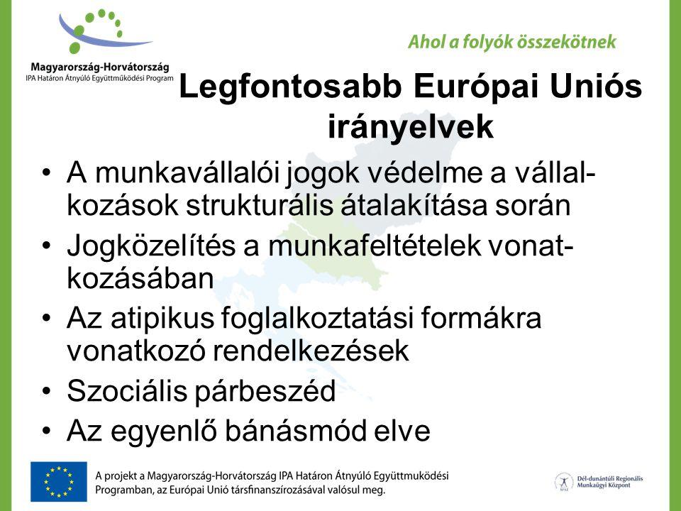 Legfontosabb Európai Uniós irányelvek