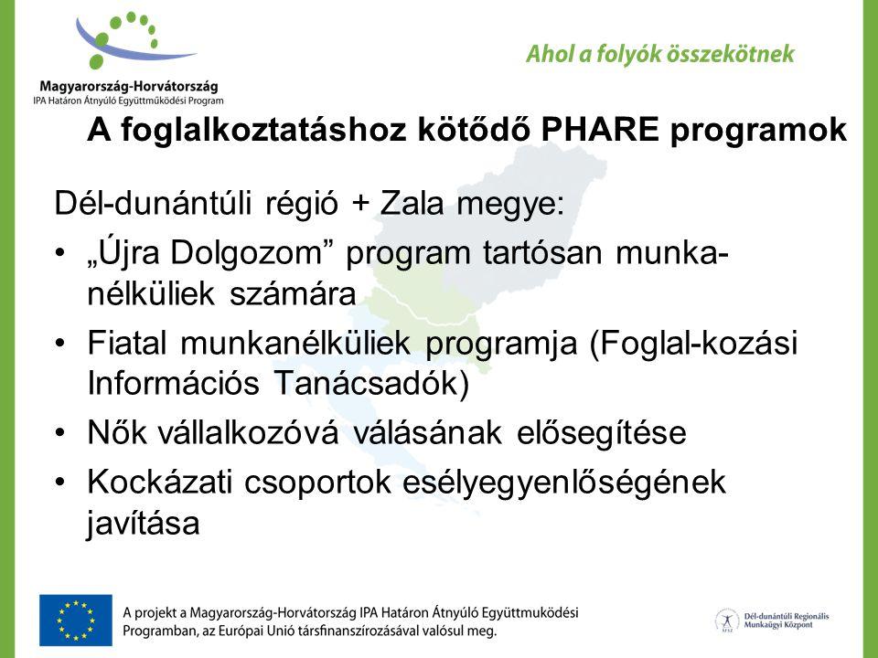 A foglalkoztatáshoz kötődő PHARE programok
