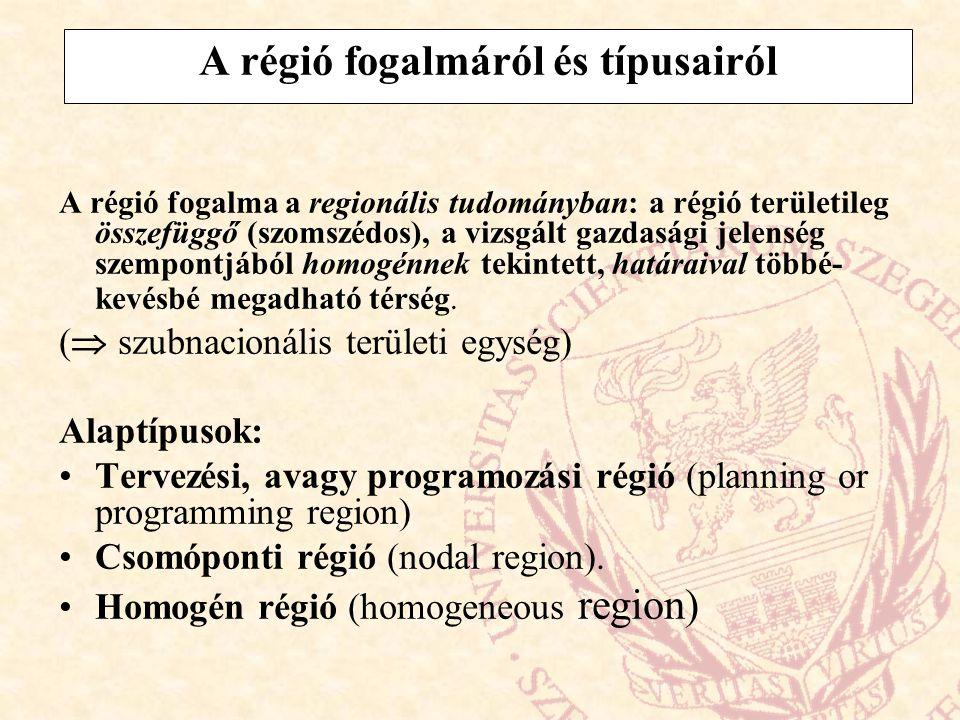 A régió fogalmáról és típusairól
