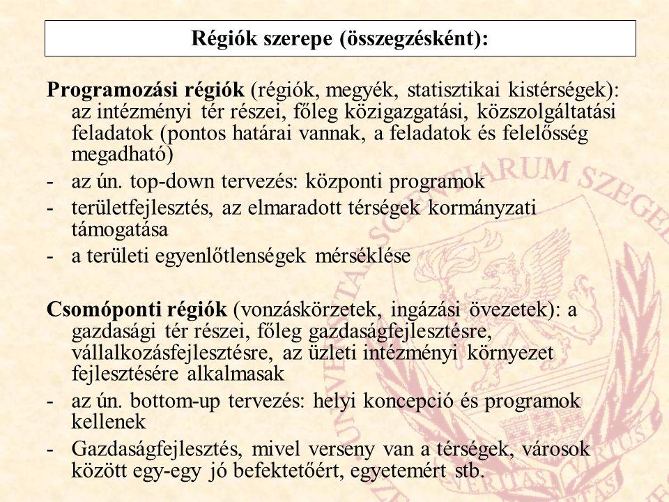 Régiók szerepe (összegzésként):