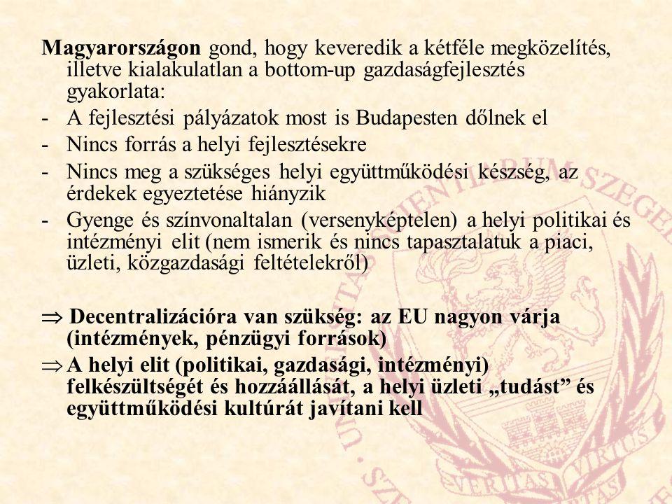 Magyarországon gond, hogy keveredik a kétféle megközelítés, illetve kialakulatlan a bottom-up gazdaságfejlesztés gyakorlata: