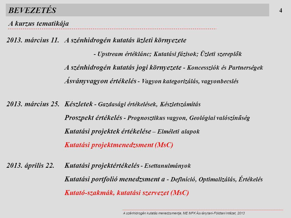 BEVEZETÉS A kurzus tematikája