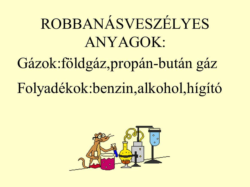 ROBBANÁSVESZÉLYES ANYAGOK: