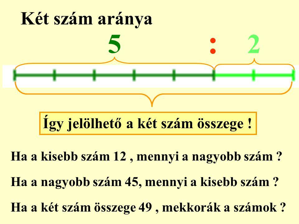 : 5 2 Két szám aránya Így jelölhető a két szám összege !
