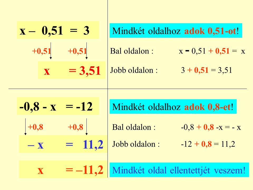 x – 0,51 = 3 Mindkét oldalhoz adok 0,51-ot! Bal oldalon : x - 0,51 + 0,51 = x. +0,51.