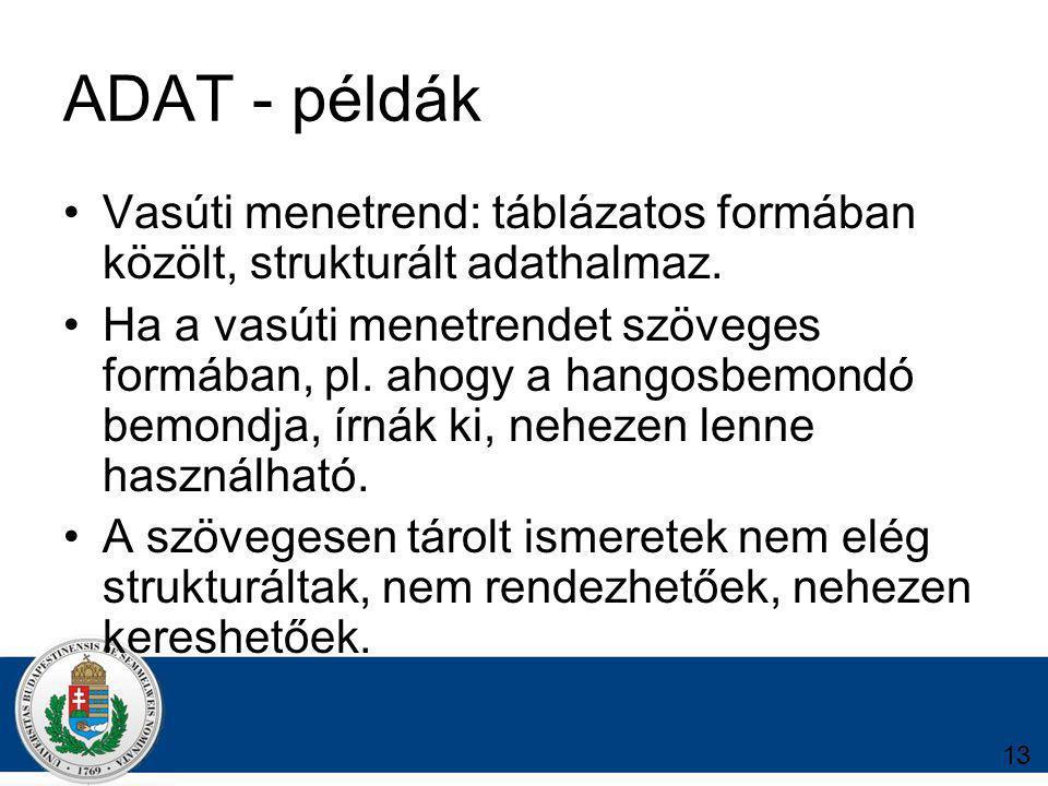 ADAT - példák Vasúti menetrend: táblázatos formában közölt, strukturált adathalmaz.