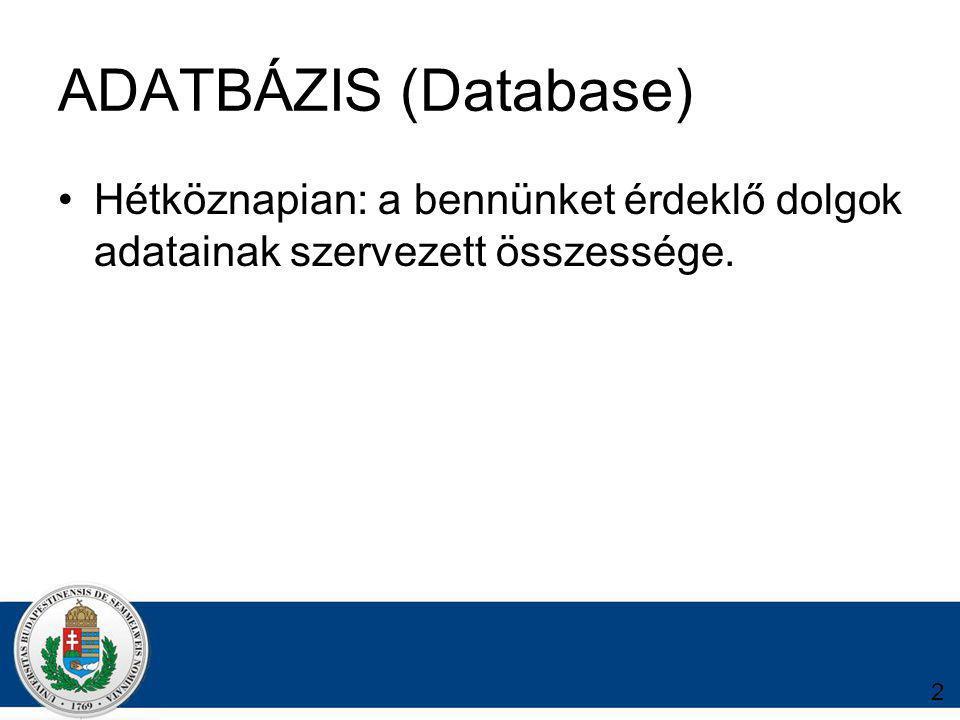 ADATBÁZIS (Database) Hétköznapian: a bennünket érdeklő dolgok adatainak szervezett összessége.