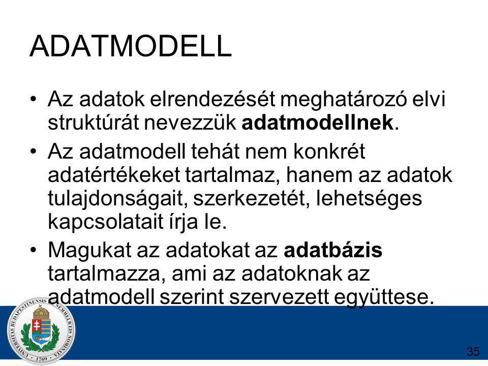ADATMODELL Az adatok elrendezését meghatározó elvi struktúrát nevezzük adatmodellnek.