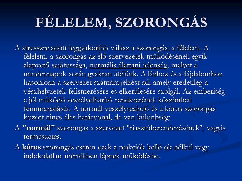 FÉLELEM, SZORONGÁS