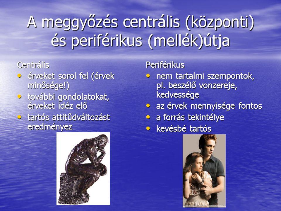 A meggyőzés centrális (központi) és periférikus (mellék)útja