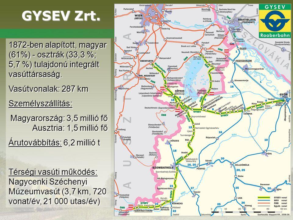 GYSEV Zrt. 1872-ben alapított, magyar (61%) - osztrák (33,3 %; 5,7 %) tulajdonú integrált vasúttársaság.