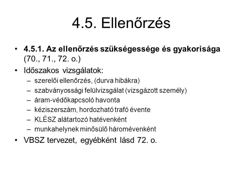 4.5. Ellenőrzés 4.5.1. Az ellenőrzés szükségessége és gyakorisága (70., 71., 72. o.) Időszakos vizsgálatok: