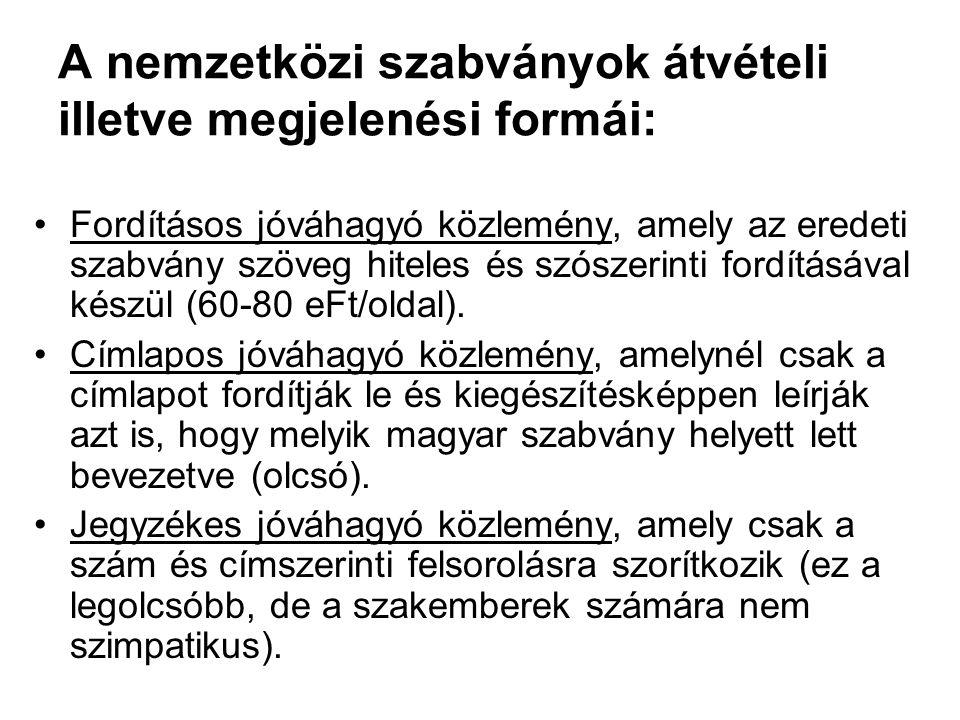 A nemzetközi szabványok átvételi illetve megjelenési formái: