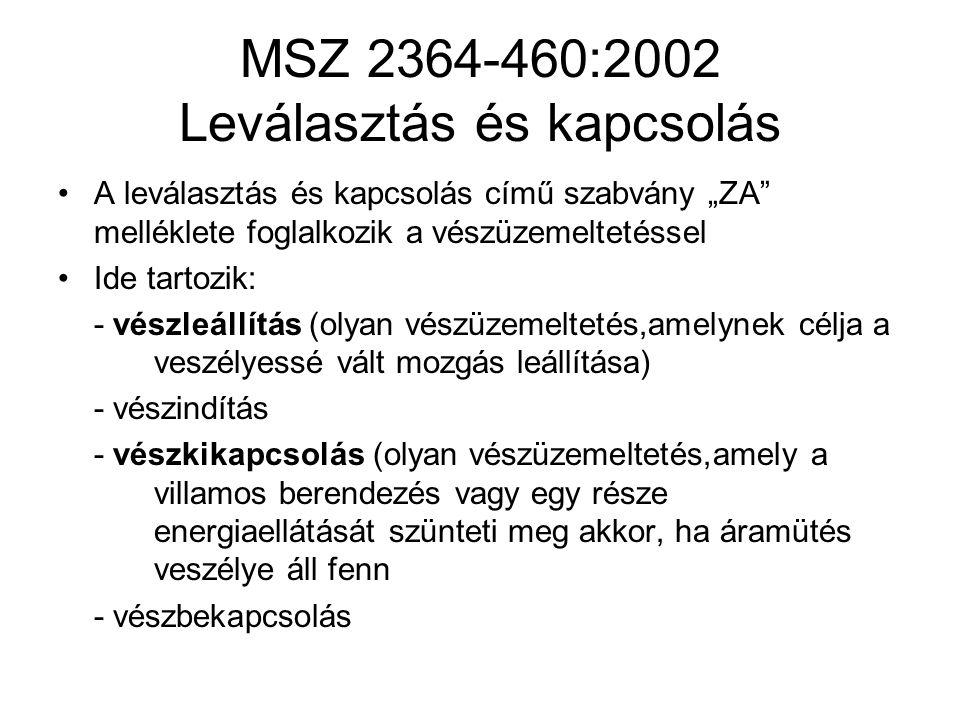 MSZ 2364-460:2002 Leválasztás és kapcsolás