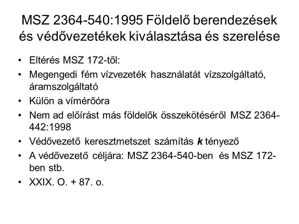MSZ 2364-540:1995 Földelő berendezések és védővezetékek kiválasztása és szerelése