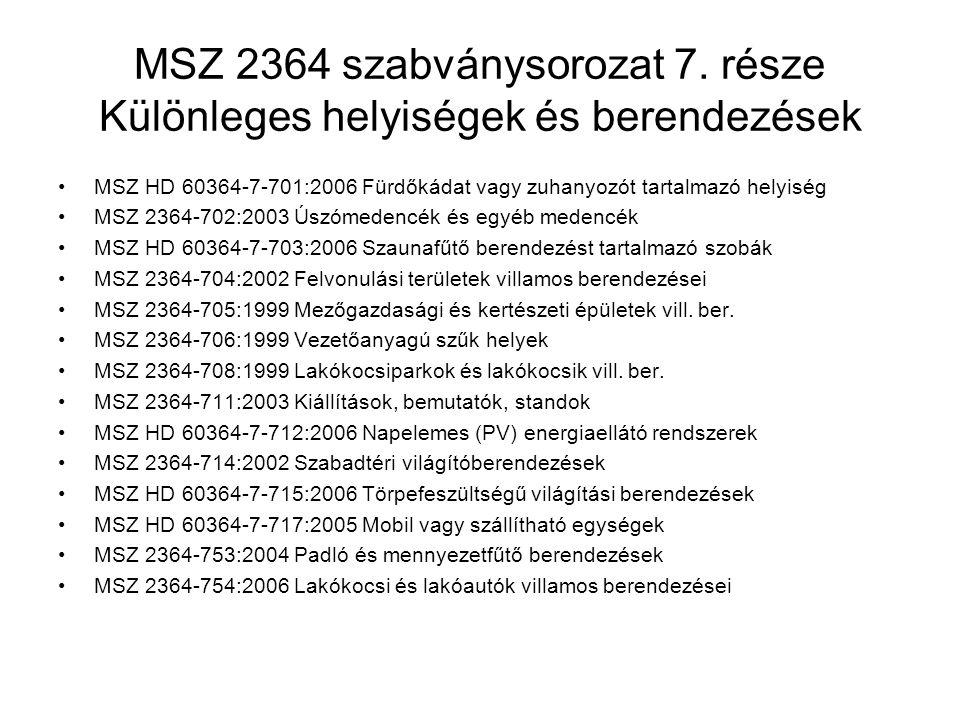 MSZ 2364 szabványsorozat 7. része Különleges helyiségek és berendezések