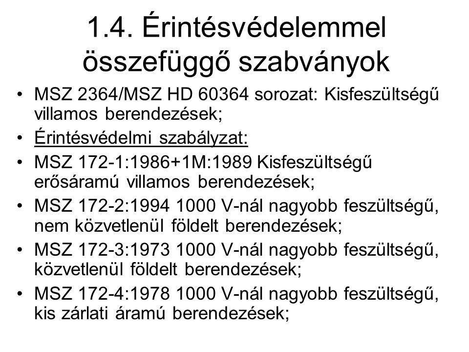 1.4. Érintésvédelemmel összefüggő szabványok