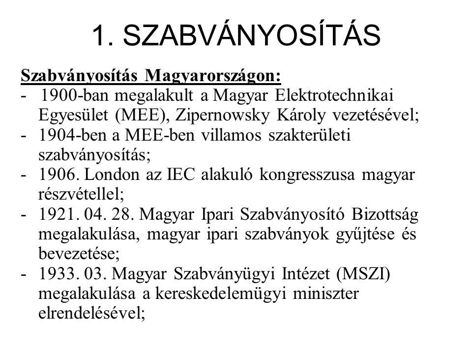1. SZABVÁNYOSÍTÁS Szabványosítás Magyarországon: