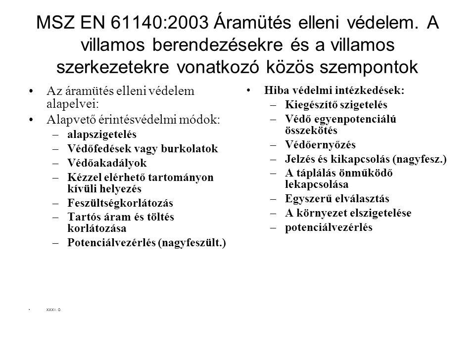 MSZ EN 61140:2003 Áramütés elleni védelem