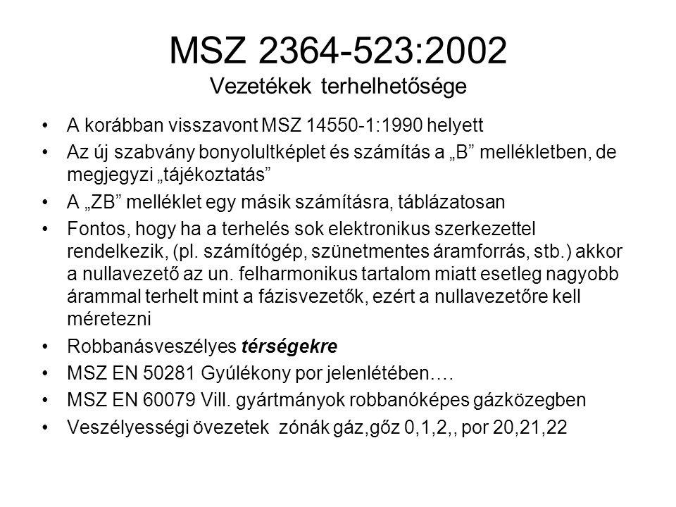 MSZ 2364-523:2002 Vezetékek terhelhetősége