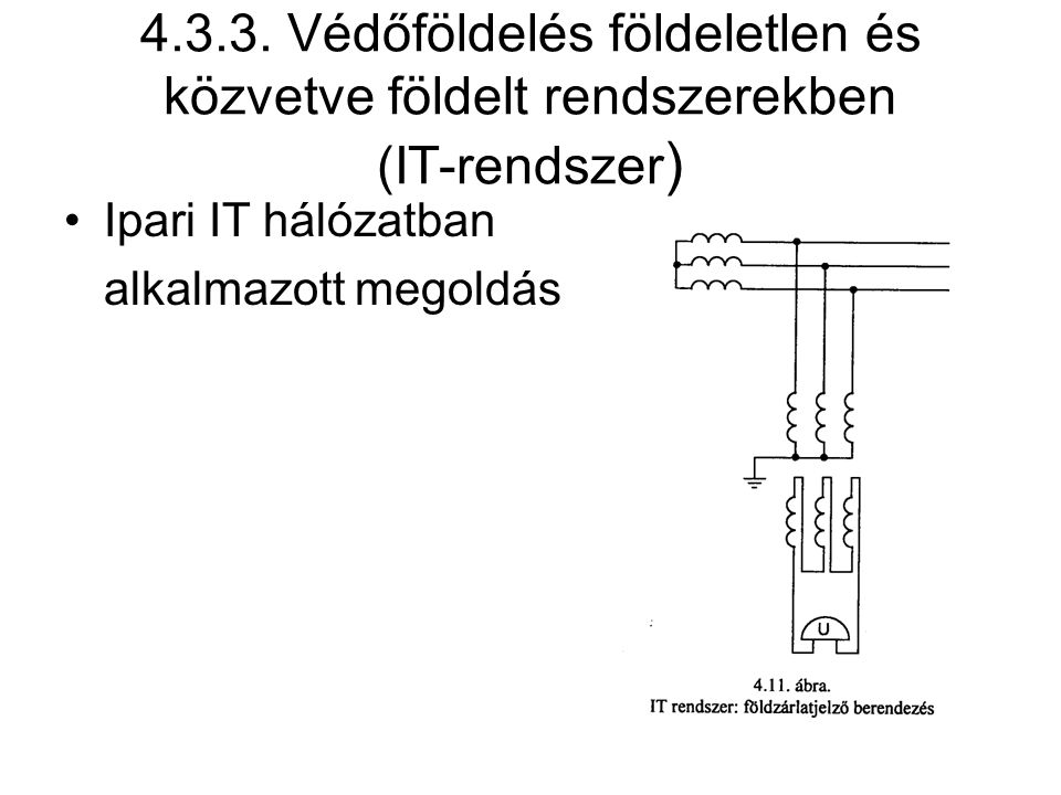 4.3.3. Védőföldelés földeletlen és közvetve földelt rendszerekben (IT-rendszer)