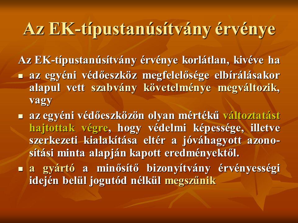 Az EK-típustanúsítvány érvénye
