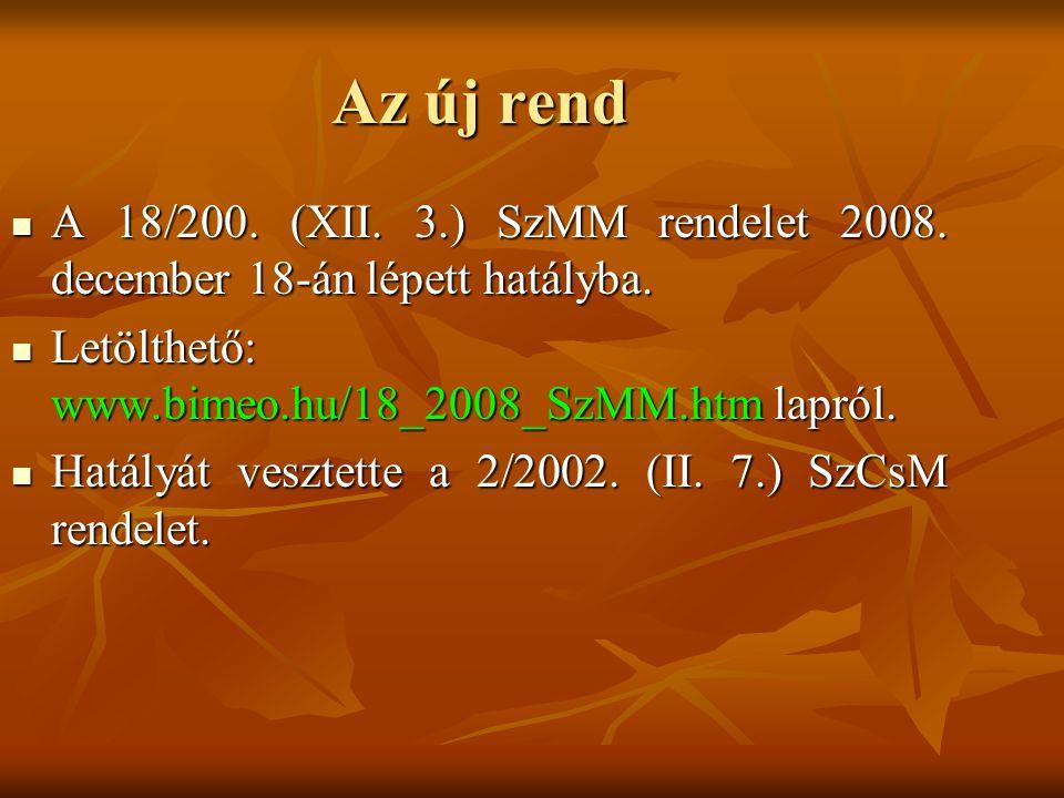 Az új rend A 18/200. (XII. 3.) SzMM rendelet 2008. december 18-án lépett hatályba. Letölthető: www.bimeo.hu/18_2008_SzMM.htm lapról.