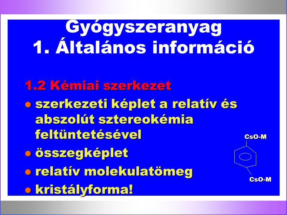 Gyógyszeranyag 1. Általános információ
