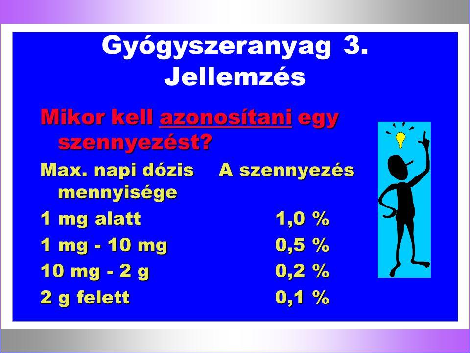 Gyógyszeranyag 3. Jellemzés