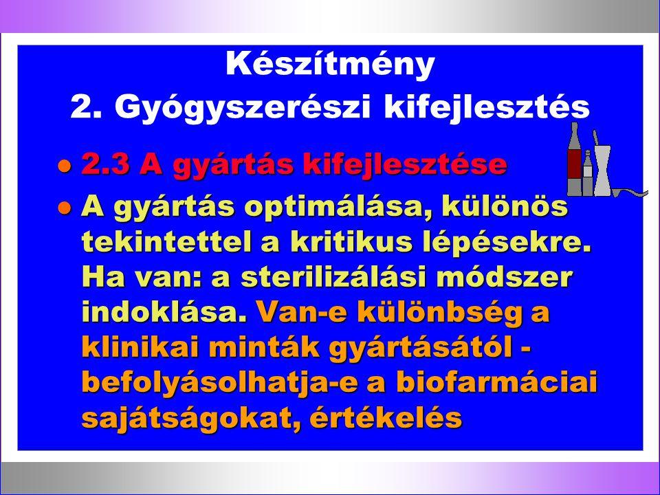 Készítmény 2. Gyógyszerészi kifejlesztés