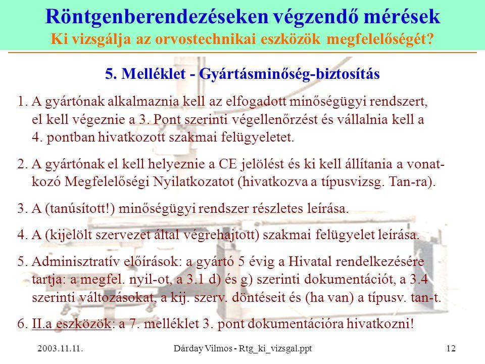 5. Melléklet - Gyártásminőség-biztosítás