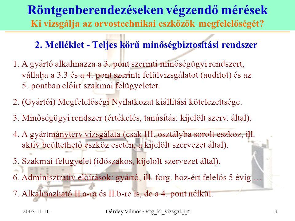 2. Melléklet - Teljes körű minőségbiztosítási rendszer