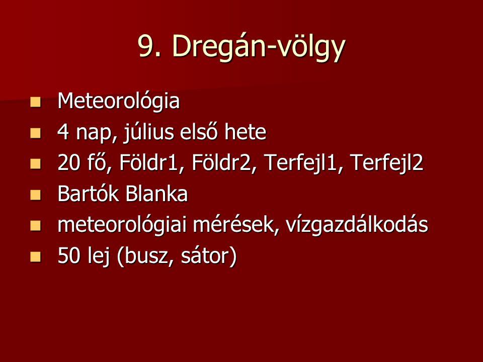 9. Dregán-völgy Meteorológia 4 nap, július első hete