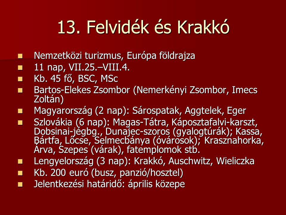 13. Felvidék és Krakkó Nemzetközi turizmus, Európa földrajza