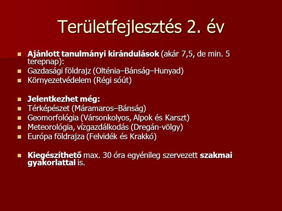 Területfejlesztés 2. év Ajánlott tanulmányi kirándulások (akár 7,5, de min. 5 terepnap): Gazdasági földrajz (Olténia–Bánság–Hunyad)