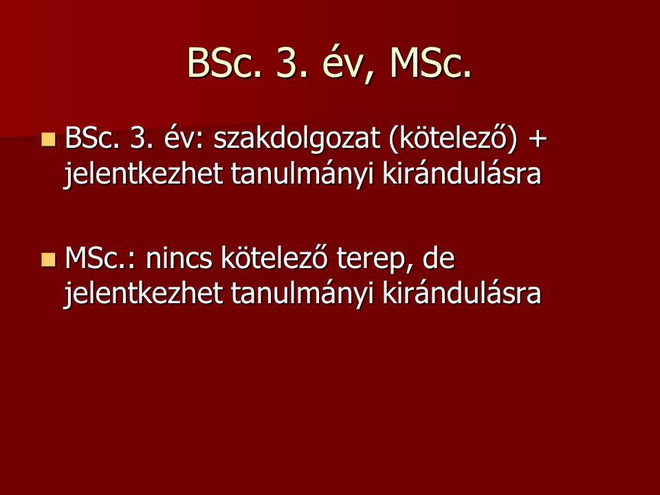 BSc. 3. év, MSc. BSc. 3. év: szakdolgozat (kötelező) + jelentkezhet tanulmányi kirándulásra.
