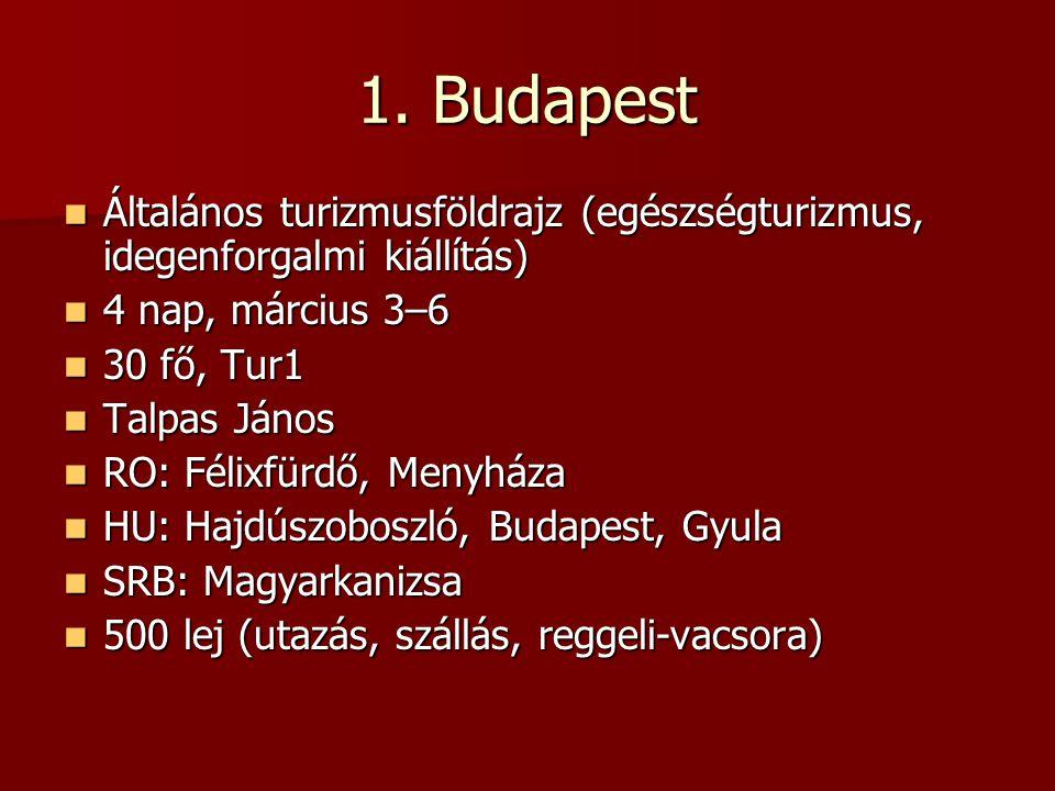 1. Budapest Általános turizmusföldrajz (egészségturizmus, idegenforgalmi kiállítás) 4 nap, március 3–6.