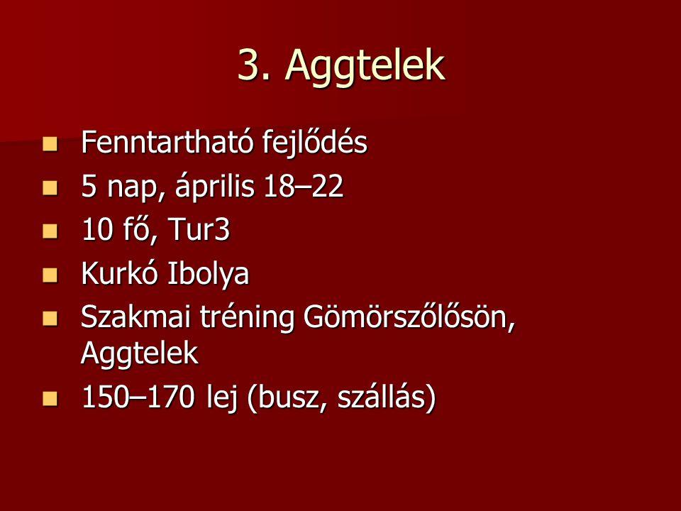 3. Aggtelek Fenntartható fejlődés 5 nap, április 18–22 10 fő, Tur3