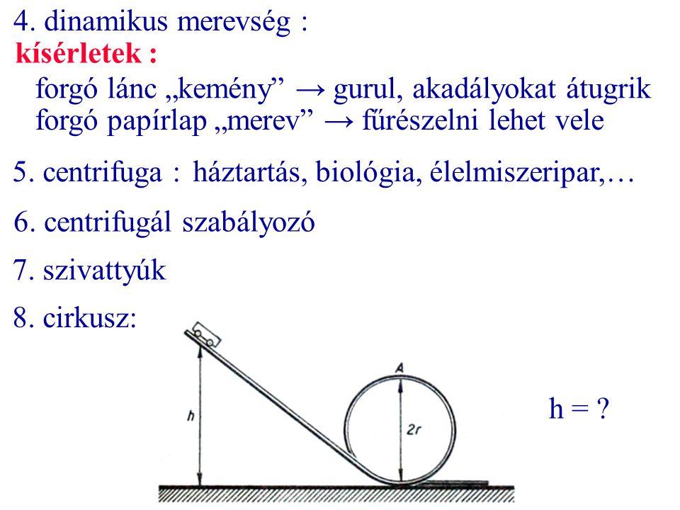 """4. dinamikus merevség : kísérletek : forgó lánc """"kemény → gurul, akadályokat átugrik. forgó papírlap """"merev → fűrészelni lehet vele."""