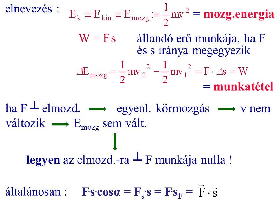 elnevezés : = mozg.energia. W = F.s. állandó erő munkája, ha F és s iránya megegyezik. = munkatétel.