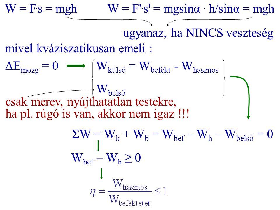 W = F.s = mgh W = F .s = mgsinα . h/sinα = mgh. ugyanaz, ha NINCS veszteség. mivel kváziszatikusan emeli :