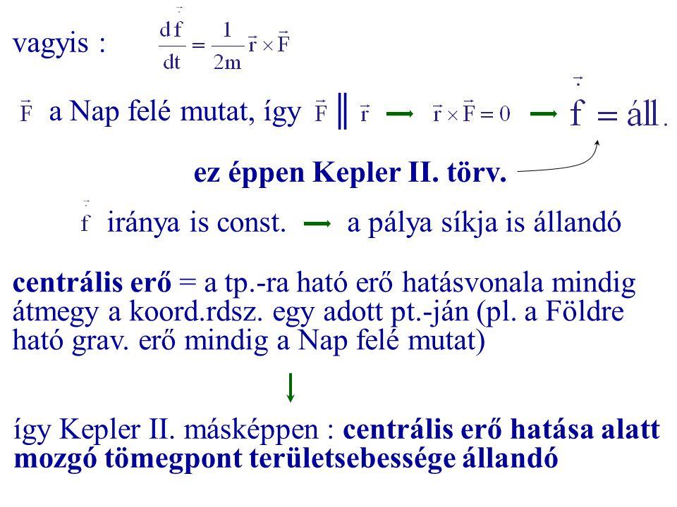 vagyis : a Nap felé mutat, így ║ ez éppen Kepler II. törv. iránya is const. a pálya síkja is állandó.