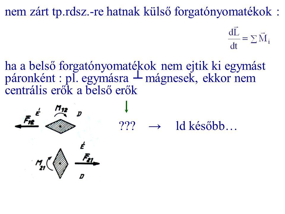nem zárt tp.rdsz.-re hatnak külső forgatónyomatékok :