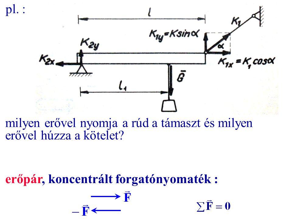 pl. : milyen erővel nyomja a rúd a támaszt és milyen erővel húzza a kötelet.