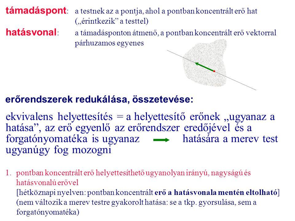 """támadáspont: a testnek az a pontja, ahol a pontban koncentrált erő hat (""""érintkezik a testtel)"""