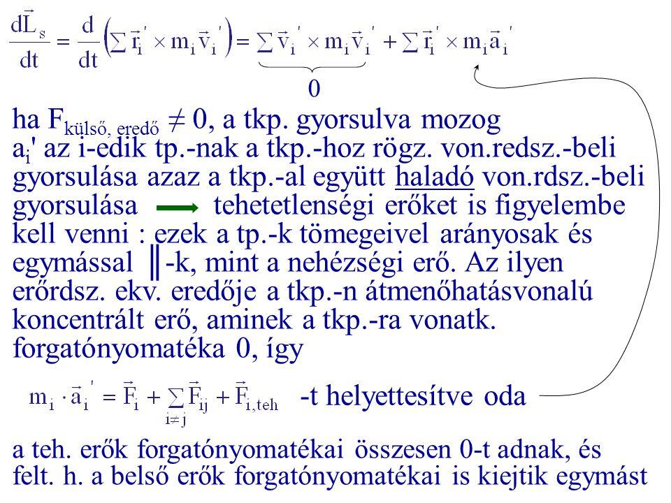 ha Fkülső, eredő ≠ 0, a tkp. gyorsulva mozog