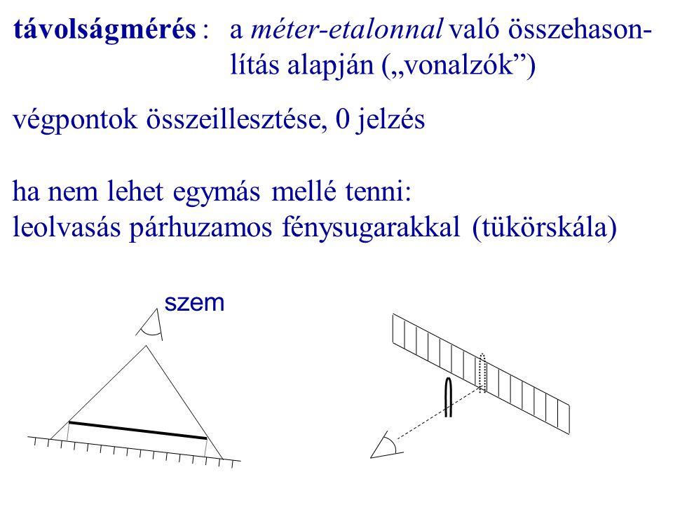 távolságmérés : a méter-etalonnal való összehason-